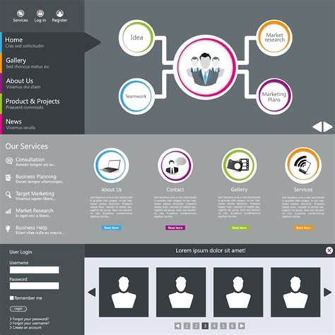 website templates for adobe illustrator black and gray style web template vector free vector in
