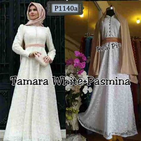 Model Baju Gamis U Pesta baju muslim brokat tamara white p1140a gamis pesta