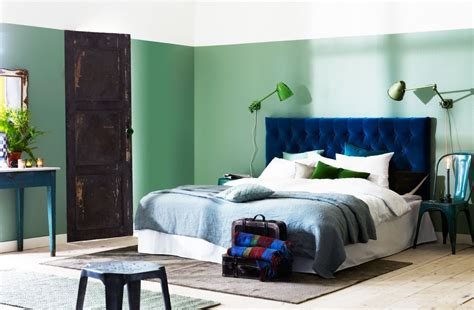 blue velvet headboard color blocking bedroom panda s house