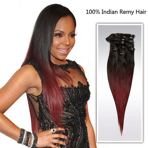 indian remy human hair clip in extensions 18inch ombre color hair extension human