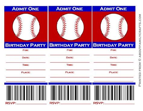 baseball ticket birthday party invitation about family