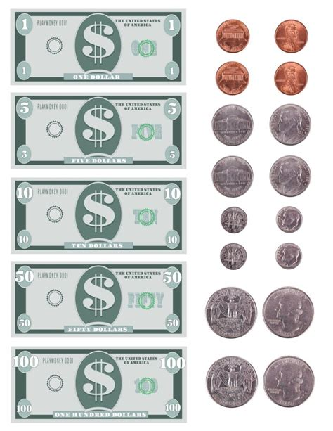 printable fake money worksheets free printable play money template