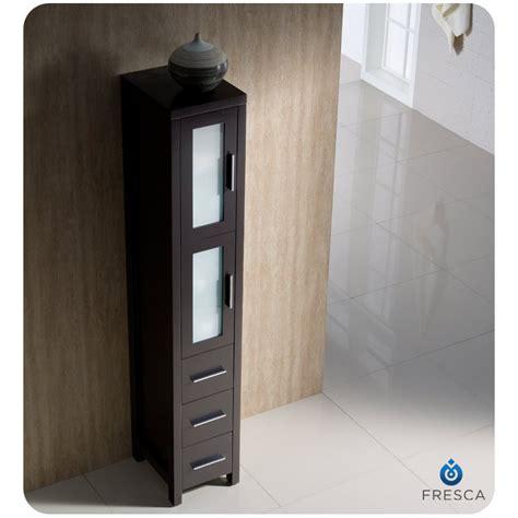 fresca torino espresso bathroom linen side cabinet