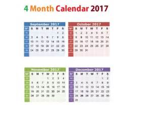Four Month Calendar Template by Printable Calendar 2017 4 Months Per Page Free Monthly