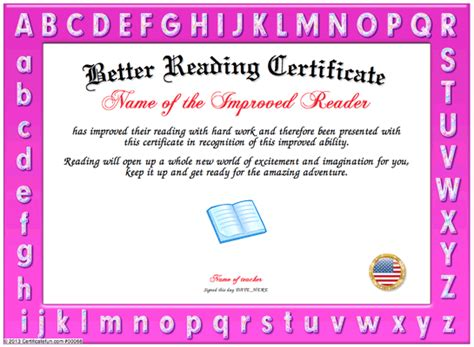 reading certificate template reading certificate template images