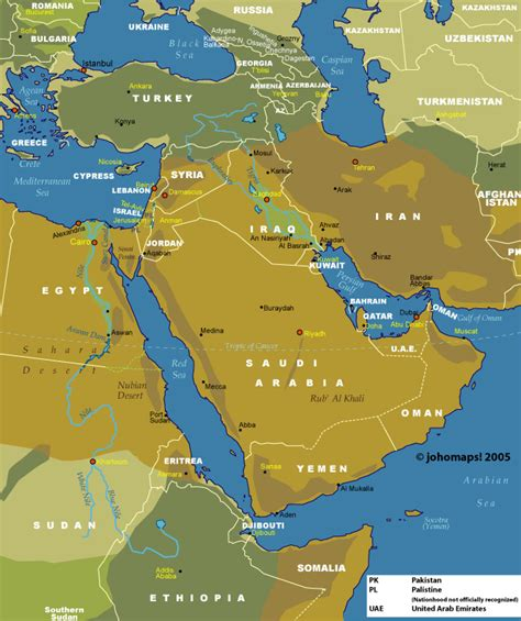 middle east map geographical map of the middle east johomaps