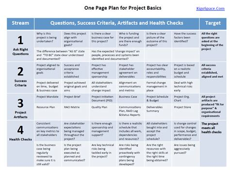 one page plan for project raid success png