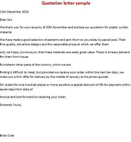 business letter samples quotation letter sample