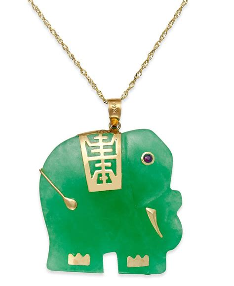 macy s dyed jade elephant pendant necklace in 14k gold