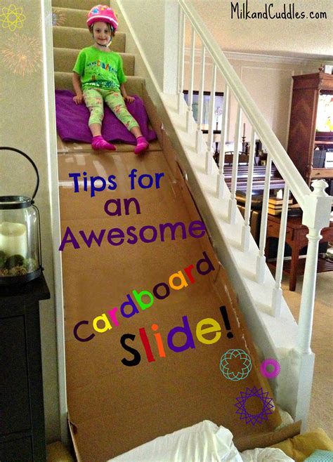 How To Make A Paper Slide - build a cardboard slide on the stairs