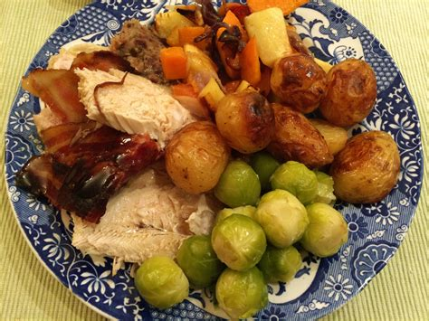 christmas dinner roast turkey bacon and stuffing again