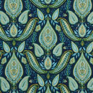 Peacock Blue Upholstery Fabric Peacock Blue Paisley Fabric Woven Cotton Upholstery Modern