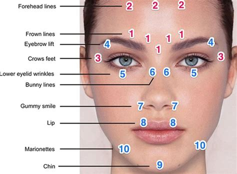 face mapping on pinterest estheticians facial massage gallery for gt botox eyebrow lift injection sites beauty