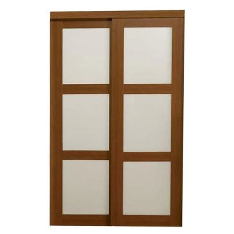 truporte 72 in x 80 in 2310 series 3 lite tempered frosted glass composite cherry interior