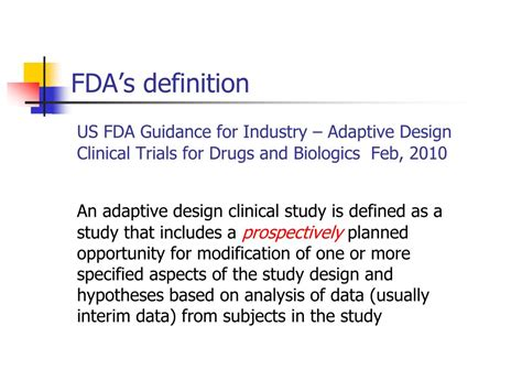 design review definition fda ppt adaptive design methods in clinical trials