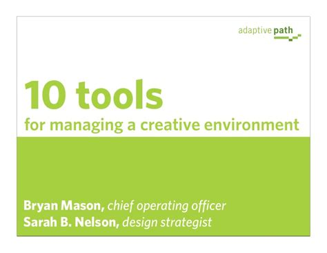 design for environment slideshare 10 tools for managing a creative environment