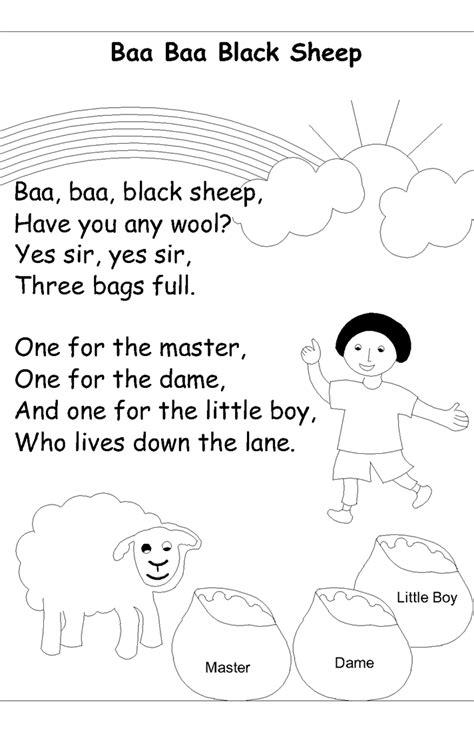 nursery rhyme coloring pages ba ba ba black sheep