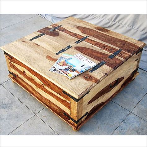 unique wood square storage trunk cocktail coffee table - Unique Coffee Tables With Storage