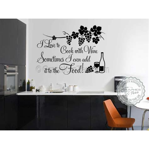 i cook with wine wall art vinyl lounge kitchen quote ebay i love to cook with wine funny kitchen cooking quote