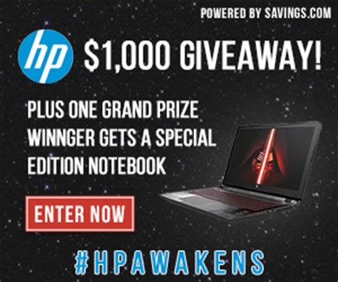 Hp Giveaway - enter to win a star wars special edition notebook from hp 699 value and 100 hp