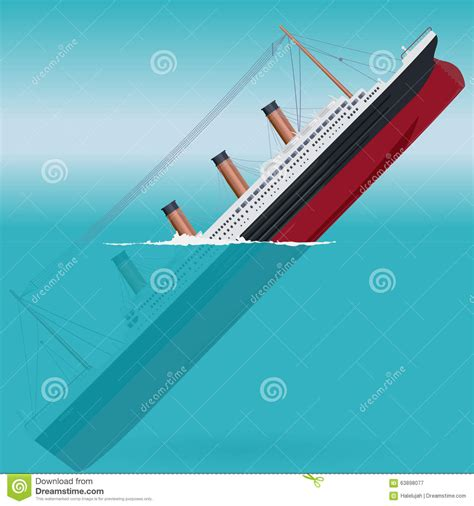 boat sinking icon sinking titanic legendary colossal boat stock vector
