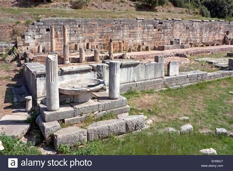 fountain house arsinoe fountain house in ancient messene messini the pelonnese stock photo