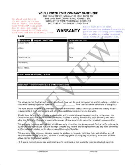 Sle Construction Form 21 Free Documents In Word Pdf Excel Builders Warranty Template