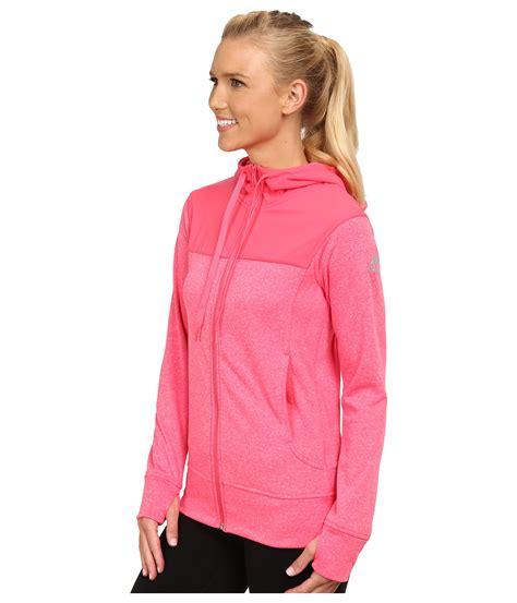 Hoodie Zipper Go 1 adidas go to fleece zip hoodie in pink lyst