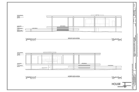 farnsworth house floor plan farnsworth house elevation plans sections elevations