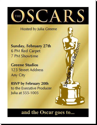 academy awards invitation template oscar award invitations