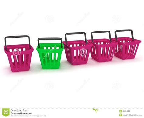 colored white out 3d rendering of a shopping baskets royalty free stock
