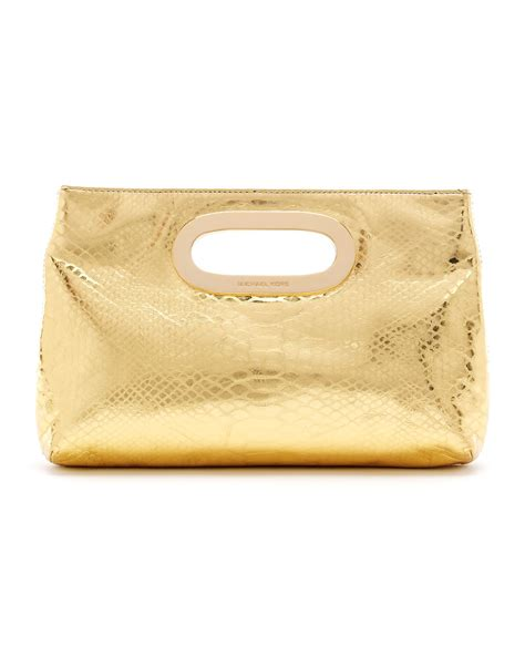 Clutch Python Embossed Gold lyst michael kors berkley metallic python embossed