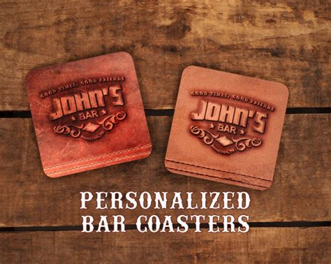 bar coasters personalized bar coasters designed to look like leather