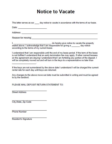 printable sle vacate notice form downloadable legal