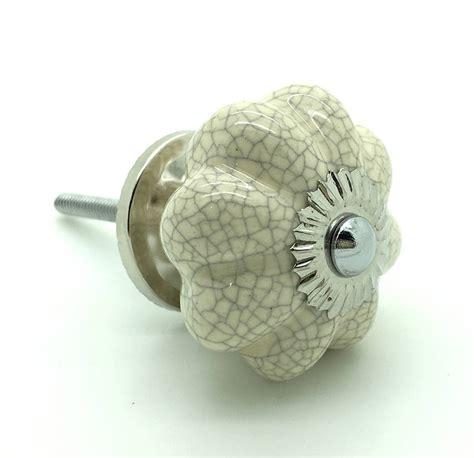 flower crackle ceramic cupboard door knob handle by