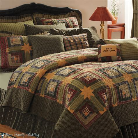 Quilts Bedding by Green Log Cabin Cal King Size Lodge Quilt