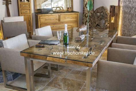 Designer Esstisch Holz design esstisch aus altholz mit edelstahlgestell der