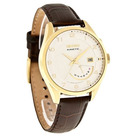 quiksilver daydate leather brown seiko kinetic day date sport mens gold tone brown leather
