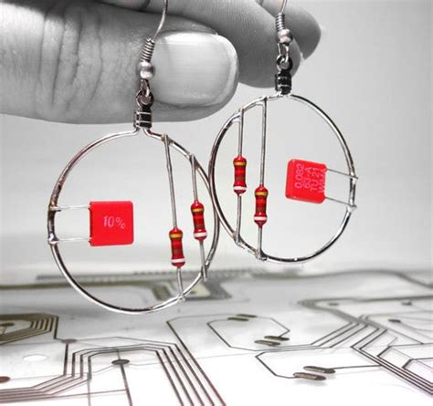 computer resistor jewelry computer part jewelry resistor earrings hoop recycled earrings computers and jewelry