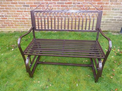 rocker bench garden furniture ornate bronze metal rocking bench 2