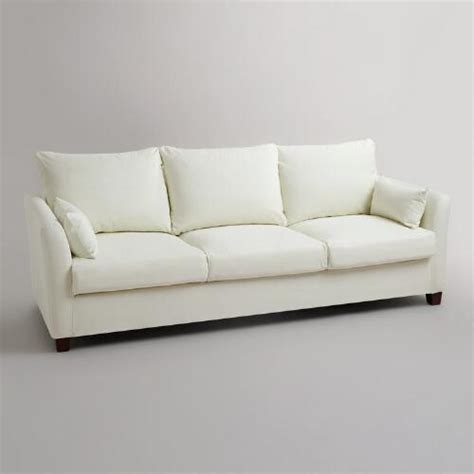 Three Seat Sofa Slipcover Ivory Luxe Three Seat Sofa Canvas Slipcover World Market