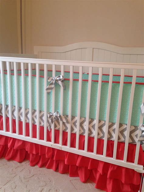 Gray And Coral Crib Bedding So Sweet Mint Coral And Gray Nursery Bedding Www Butterbeansboutique Etsy For Babies