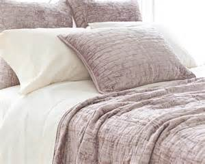 soft textured dusty plum purple velvet coverlet shams