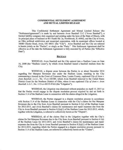 Settlement Agreement Letter Exle 14 Confidential Settlement Agreement Templates Free Sle Exle Format Free