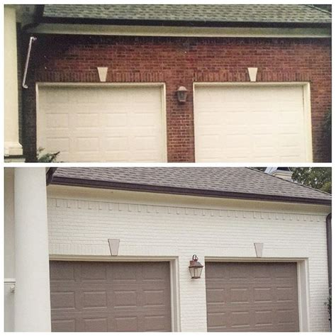 the brick and trim are canvas garage doors and shutters are fairview taupe and the porch