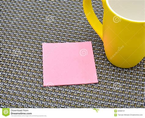 pattern notes exle notepad with yellow cup on pattern background stock photo