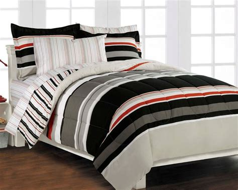 teen boys bedding sets black and red bedding for boys nautical stripe gray 5p