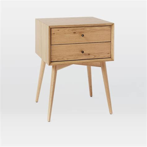 bed side table mid century bedside table natural oak west elm uk