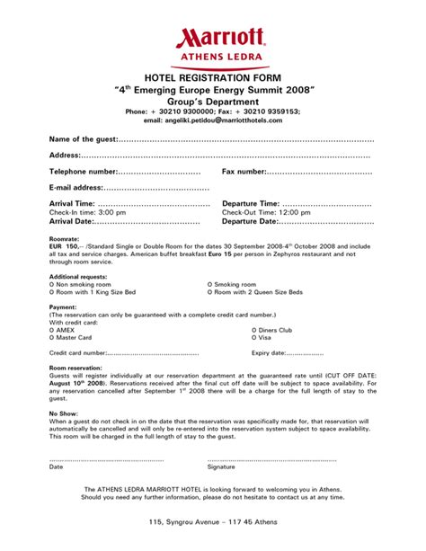 Hotel Registration Forms Image Collections Download Cv Letter And Format Sle Letter Free Hotel Registration Form Template