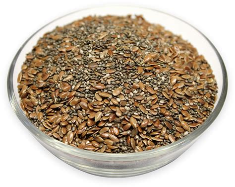 Chia Brown chia seeds and flaxseeds brown mixed almond brazil nuts
